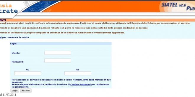 Accesso Siatel 2.0 PuntoFisco