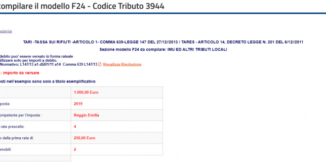 codice tributo 3944 compilare f24